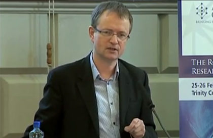 Simon Hampton, Director of European Public Policy of Google, speaks at the European Intersectoral Summit on Research and Innovation